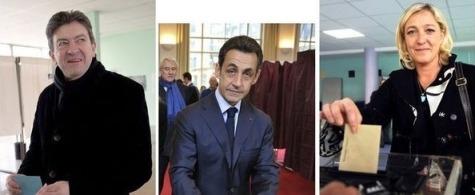 Melenchon, Sarkozy et Le Pen