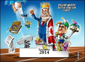Podium Election 2014 Quebec - Marois battue