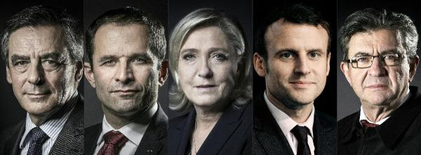 Fillon LR - Hamon PS - Le Pen FN - Macron - Melenchon FG